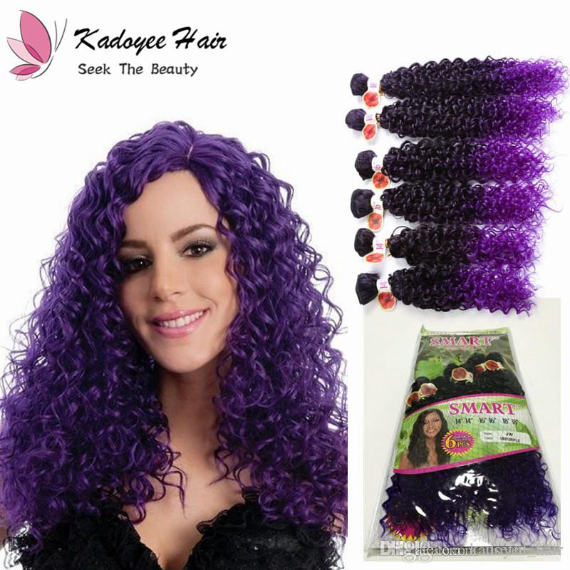 Cheap Purple Hair Weave 14 18inch Jerry Curly Hair Bundles Ombre