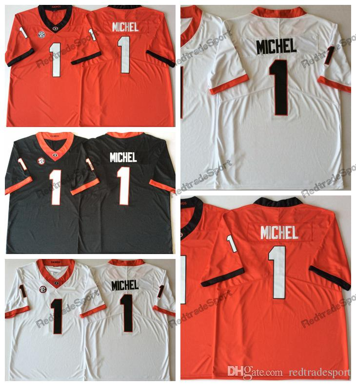 ... free shipping 2018 2018 mens georgia bulldogs sony michel college  football jerseys cheap white black red 1561a2ff9
