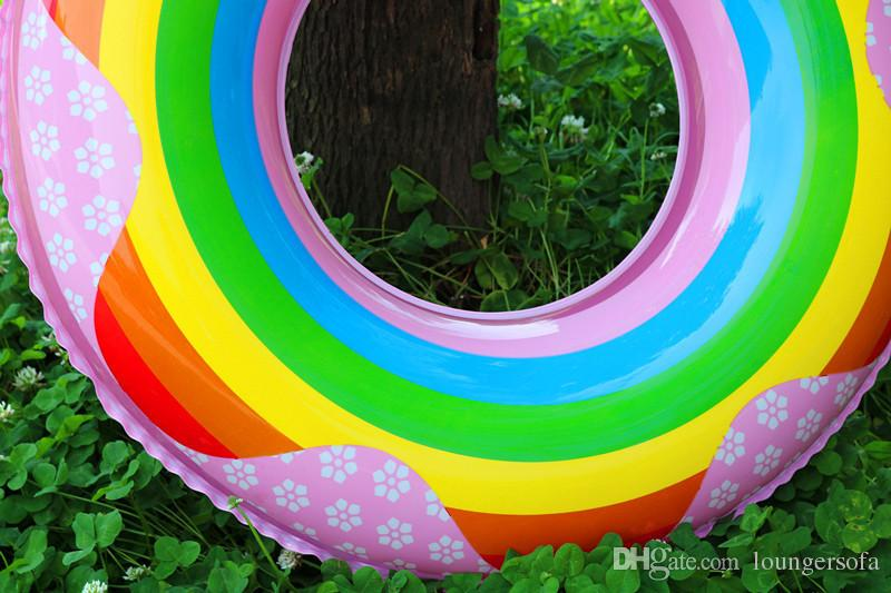 Thickening Rainbow Swimming Ring For Kids Adults Cute Inflatable Tubes Creative Pool Floating Mat Multi Size Choose High Quality 7 5xr Z