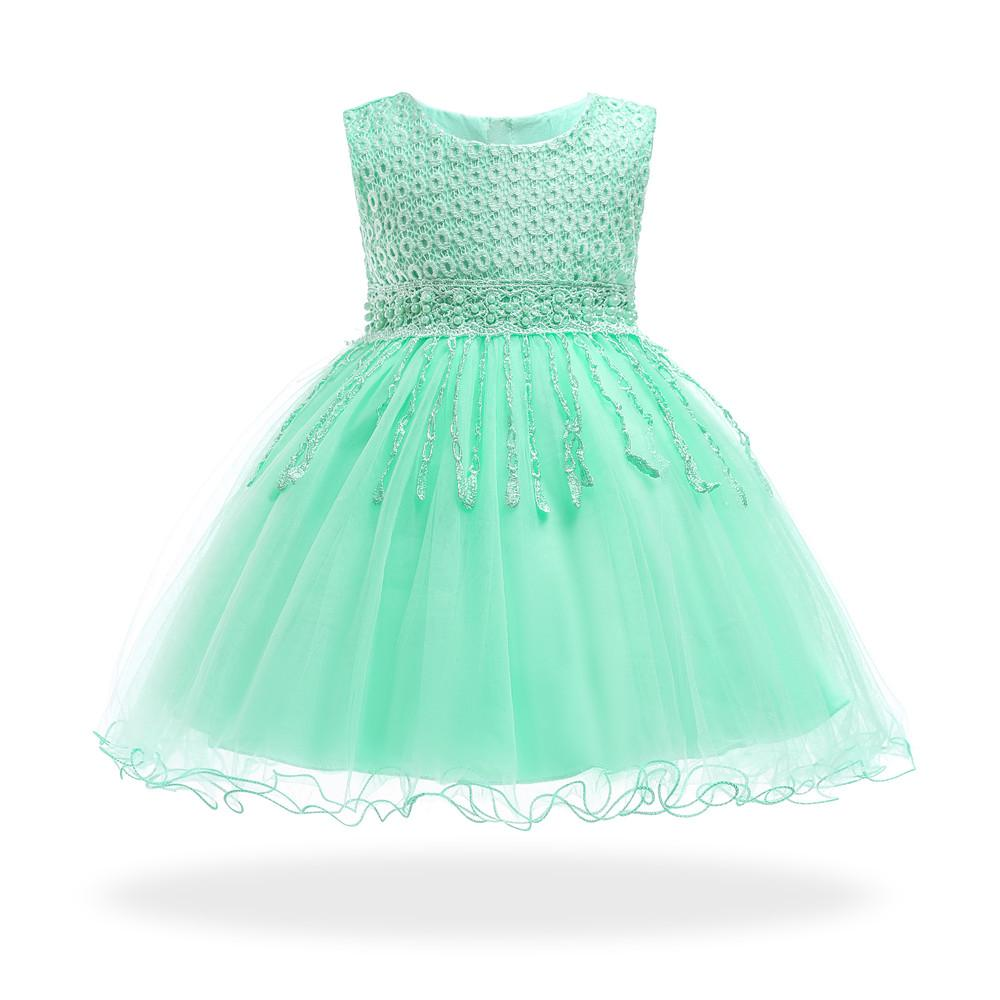 20601109a239 2019 Cotton Lining Mint Infant Dresses 2018 New Style Baby Dress For 1 Year  Girl Birthday Formal Toddler Princess Gowns From Friendhi