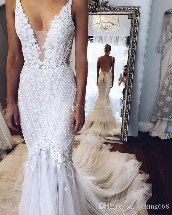 d3d5a6528c48 2019 Berta Pallas Couture Mermaid Wedding Dresses Deep V Neck Sexy Back  Unique Lace Sweep Train Summer Spring Bridal Gown Custom Made Real Sexy  Mermaid ...