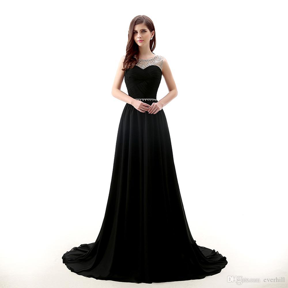 c28c36f8f5e59 Sexy Black Chiffon Long Evening Dresses With Crystal Sheer Beaded Collar  Juniors Floor Length Prom Dress Party Sleeveless A-Line Avondjurken