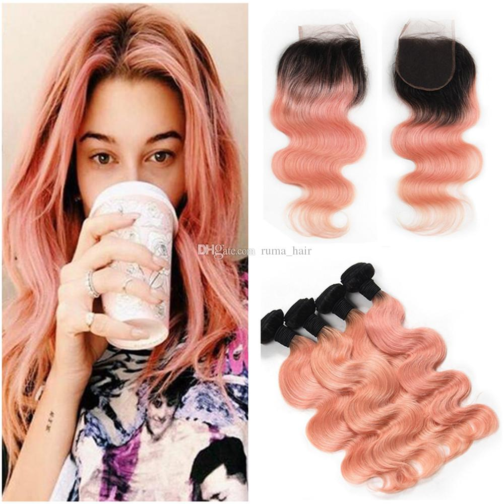 Rose Gold Ombre Hair With Lace Closure Brazilian Virgin Human Hair Bundles Pink Body Wave Hair Extensions With 4*4 Lace Top Closure