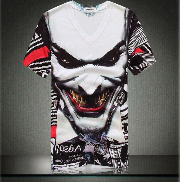 Creative 3d Mens T Shirts Scary Devil Evil Clown Print Creepy Tees