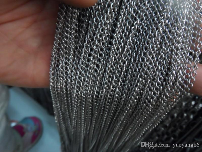 Commercio all'ingrosso 10 metri Argento tono Acciaio Inox sottile 2mm catena di gioielli risultati jewlery marcatura FAI DA TE LE DONNE UOMINI.