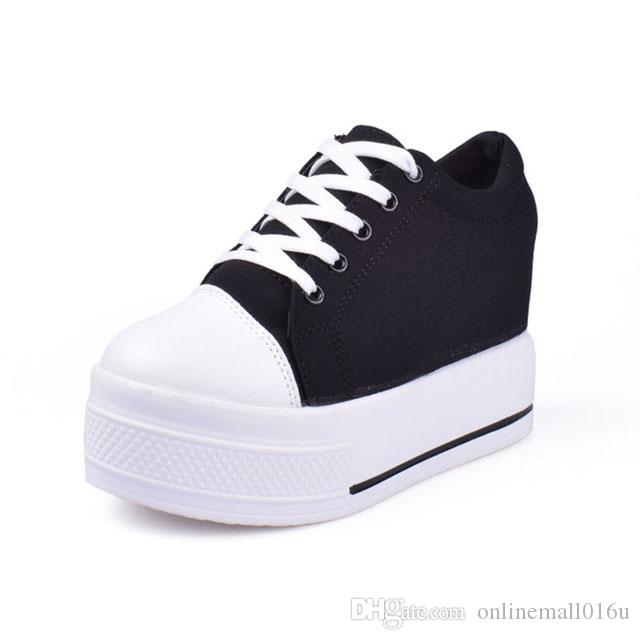 dd4fdb3e04d Wedges Canvas Shoes Woman Platform Vulcanized Shoes Hidden Heel Height  Increasing Casual Shoes Female Chaussure Femme Online with  19.17 Piece on  ...