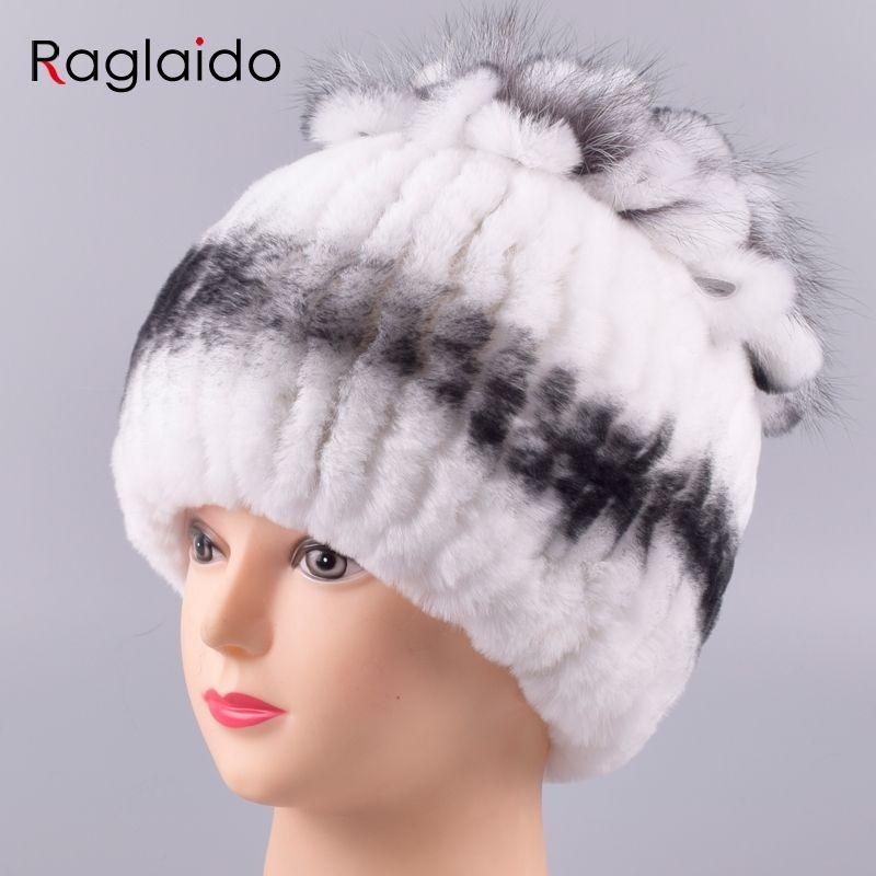 9f44a4018ac Raglaido Winter Hats for Women Real Fur Rex Rabbit Cap with Fox Fur ...