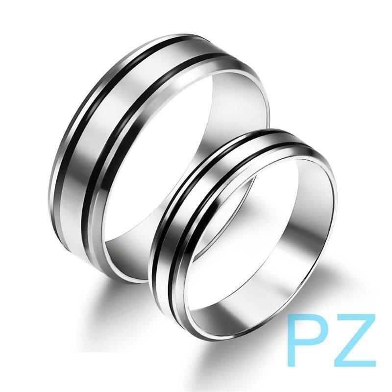 Men Women Titanium Steel Wedding Engagement Letter Print Couple Ring