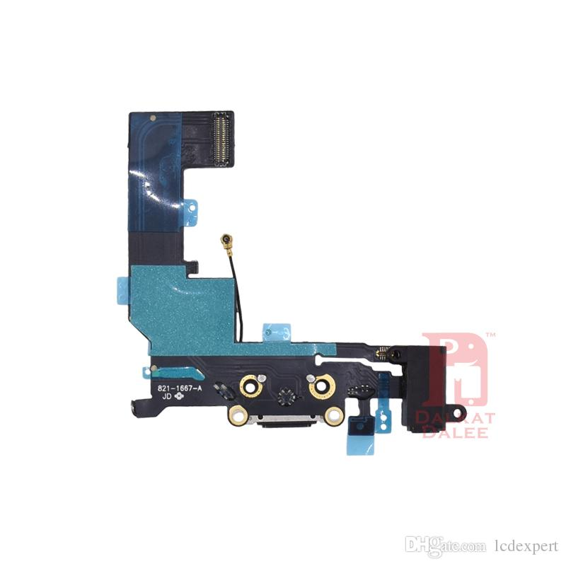 Charging Port Flex Cable For iPhone 5S Charger USB Dock Connector with Headphone Audio Jack Mic Antenna Ribbon Black White for iphon 5s