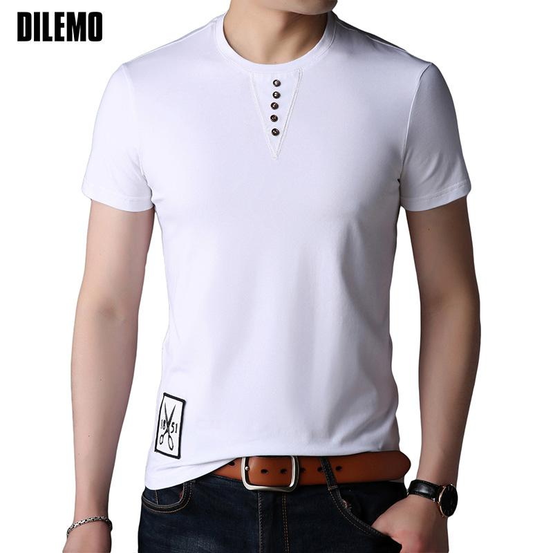 11c5863fc9c6 2018 New Fashion Mens T Shirt Summer Top Patch Designs Slim Fit Short  Sleeve T-Shirt Solid Color Button Casual Men Clothes T-Shirts Cheap T-Shirts  2018 New ...