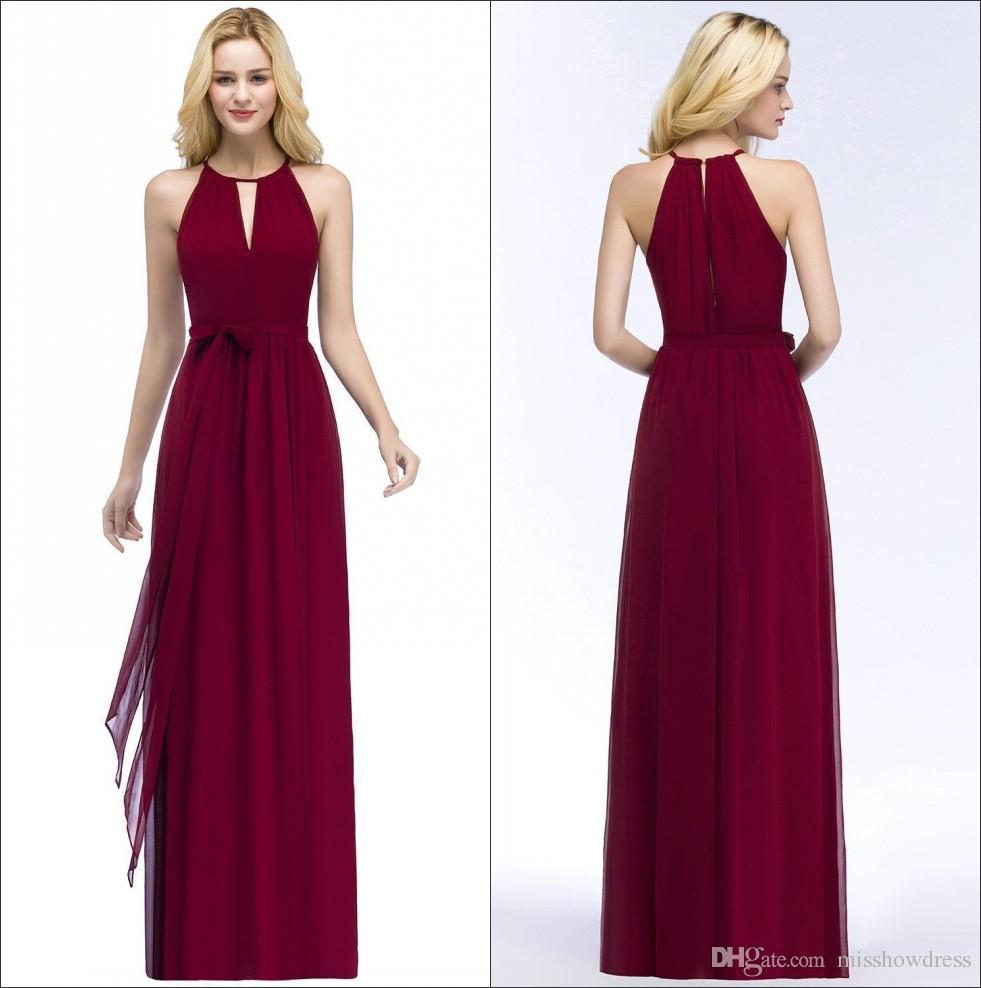 Halter Chiffon Long Bridesmaid Dresses Burgundy 2018 Ruched Floor