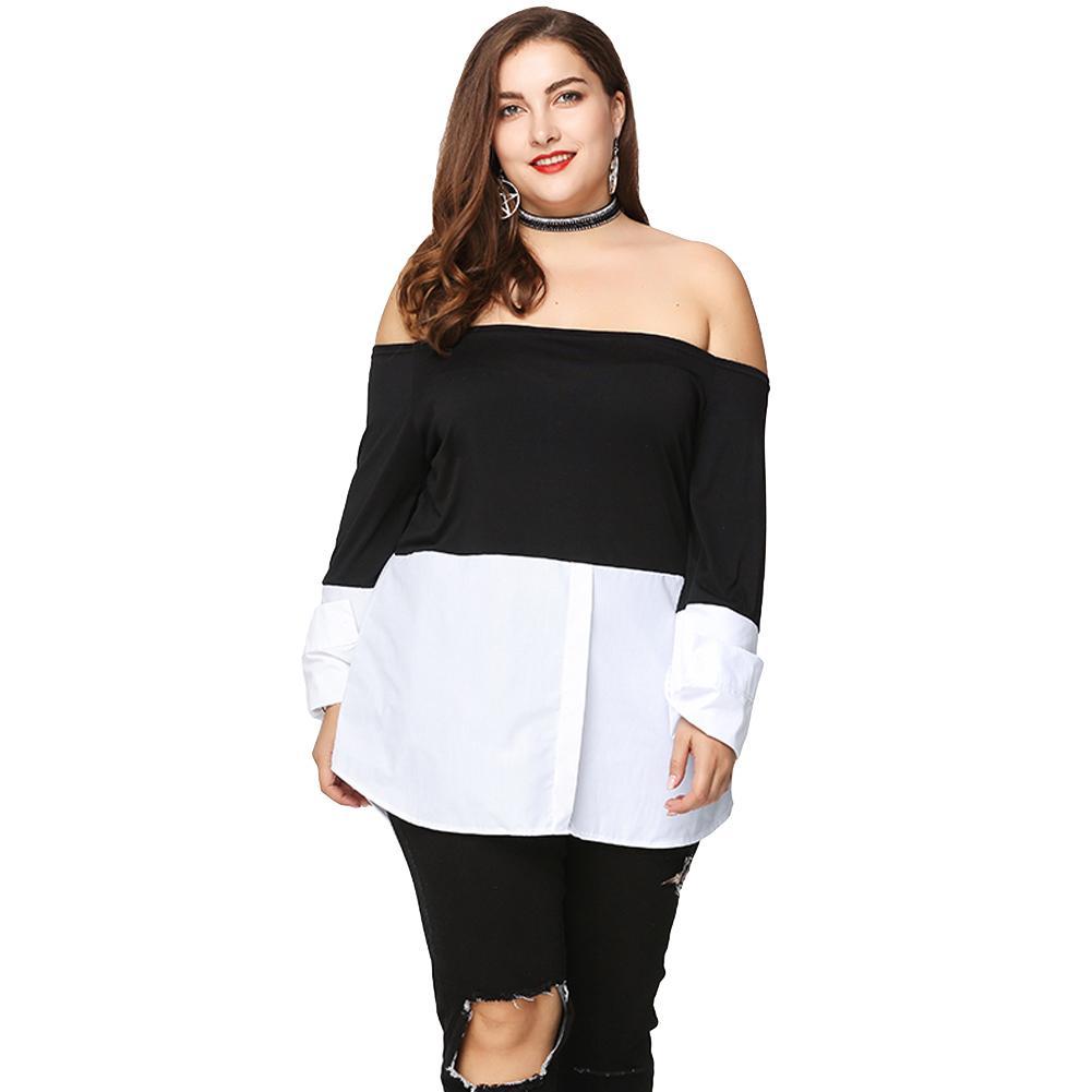 7d85d286a48 Sexy Women XXXL Plus Size Blouse Off Shoulder Contrast Color Long Sleeve Spring  Summer Clothes Asymmetric Loose Shirt Tops Black Online with  41.4 Piece on  ...