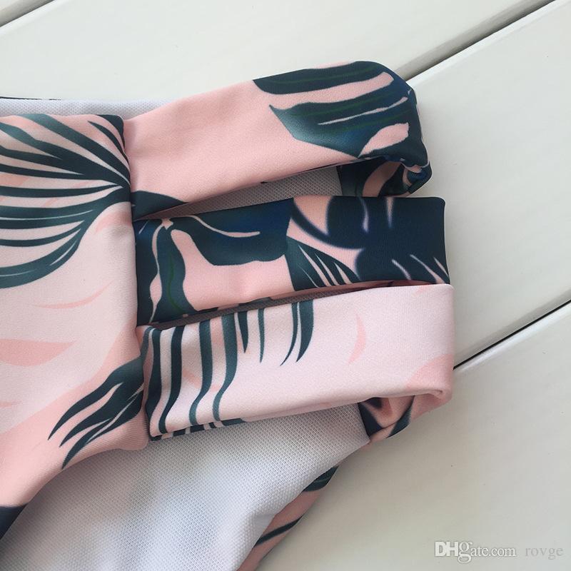 2018 Europe and the United States swimwear sweet green leaf feather band steel split body was thin sexy bikini swimsuit