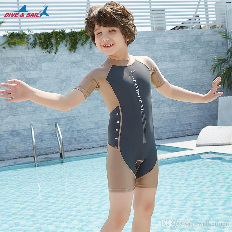 859932b2e Lycra Short Sleeve Wetsuit Kids One Piece Swimsuit for Boys Girls Diving Bathing  Suit Children Swimwear Surfing Rash Guard Drop Shipping J