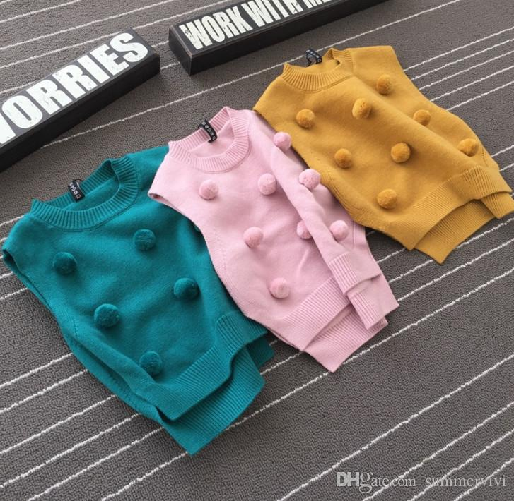 0a7ebe138 Little Girls Sweater Fashion New Children Pompons Applique Vest INS ...
