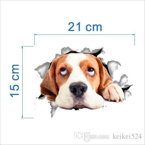 Delik Görünüm Canlı Kediler Köpek 3D Duvar Sticker Banyo Tuvalet Oturma Odası Mutfak Dekorasyon Hayvan Vinil Çıkartmaları Art Sticker Poster
