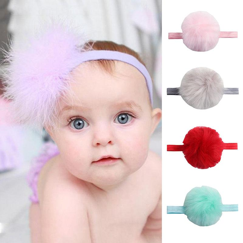 New Baby Headband With Faux Fur Pompoms Hair Accessories Baby Girls Elastic Headbands  Hair Bands Turban For Party Haarband Best Hair Accessories Crochet ... 0f38df3f136