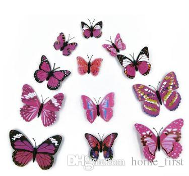 Fashion Beautiful Full Color Simulation 3D Butterfly Wall Stickers Decals Home Decor for Fridge Living Room Home Decoration
