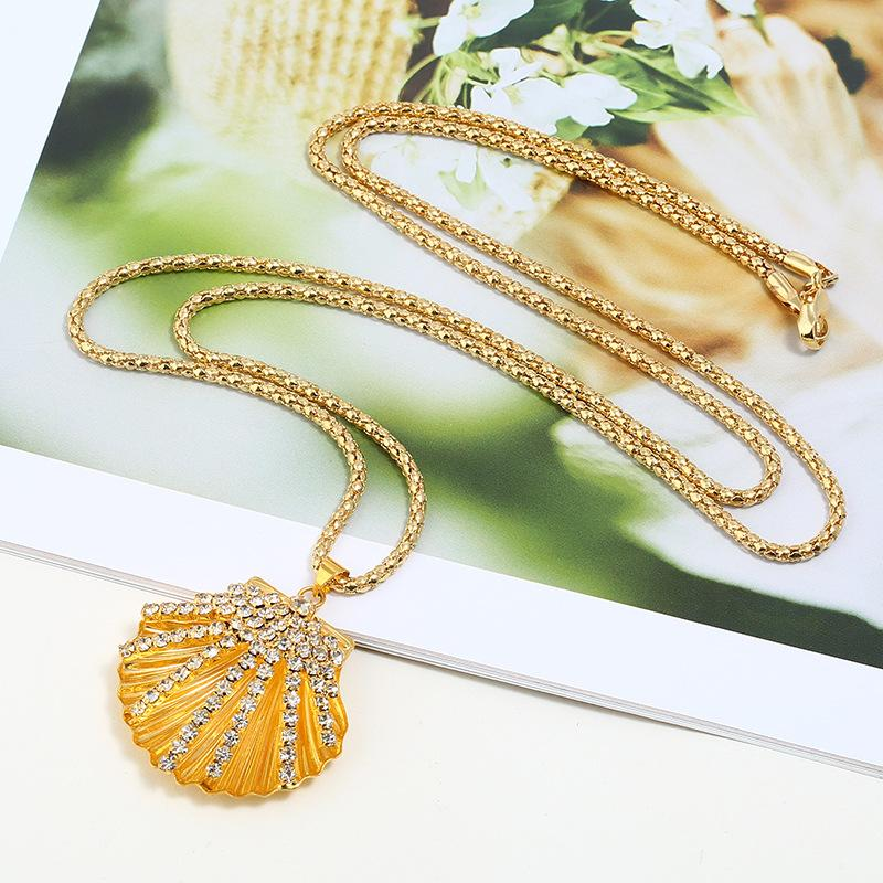 Shell pendant necklace women jewelry 2018 new fashion exquisite gold zircon Crystal Mosaic Big imitation oyster Collarbone chain wholesale
