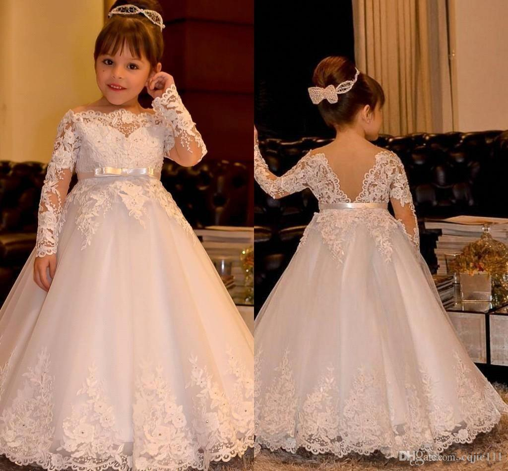 Beautiful Lace Flower Girl Dresses for Wedding 2019 New Long Sleeve Princess with Lace Appliques Beads Long Kids Prom Party Wear Custom