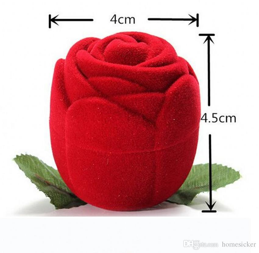 Neuheit rote Rose Ring Box für Verlobung Hochzeit Ohrringe Anhänger Schmuck Fall