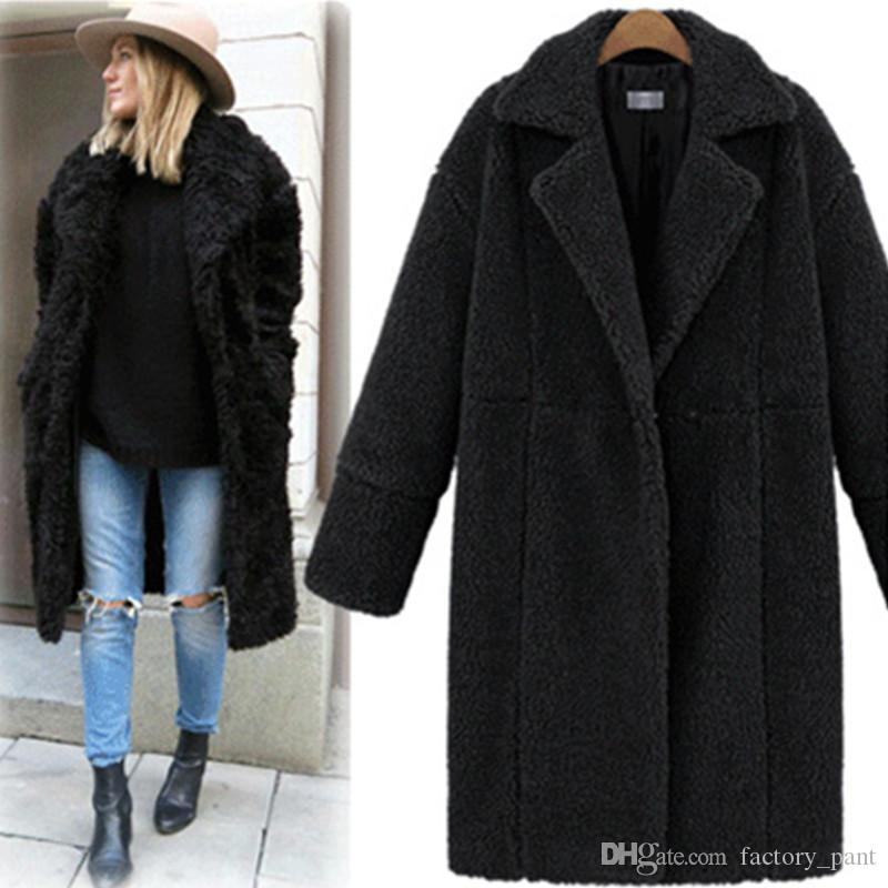 1b8c12db34 2018 Winter Coat Women Turn-down Collar Long Sleeve Covered Button Loose  Long Lamb Coats Outerwear Casaco Feminino Army Green Hot Sale Fashion Free  Shipping ...
