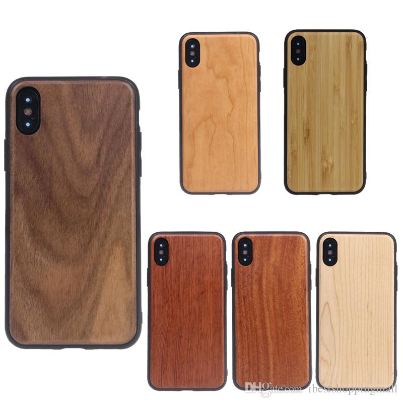 best service a5820 8a0fa TPU Arc Edge Real Wood Case Wooden Cover Luxury Retro Protector Cases For  iPhone X Xr Xs Max 8 7 6 6S Plus