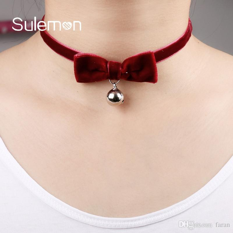 Whole SaleRed Velvet Bow Tie Bell Choker Necklace Fashion Ribbon Bell  Pendant Chokers Necklaces Women Girl Classic Sexy Jewelry CN24 UK 2019 From  Faran 95cda2cfe6