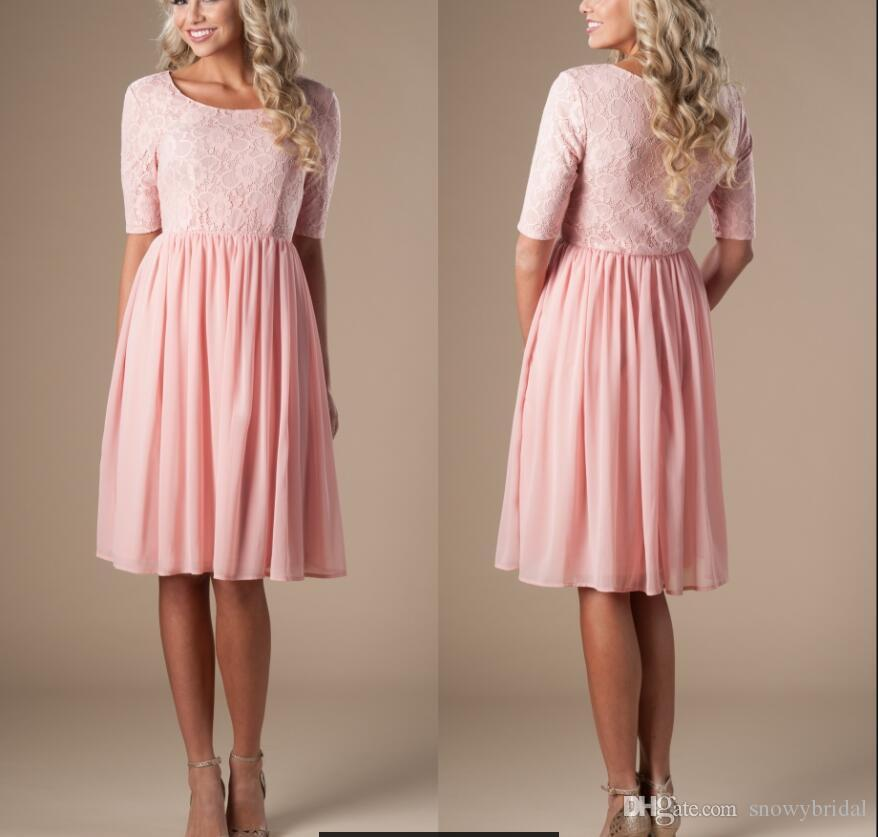 Blush Short Modest Casual Bridesmaid Dresses With Half Sleeves ...