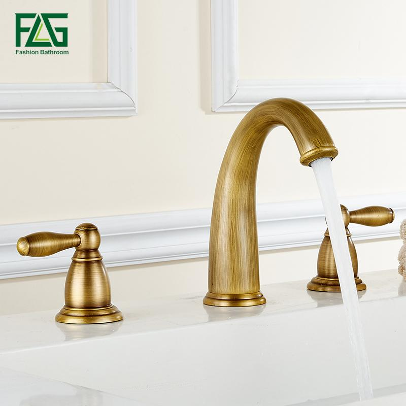 2018 Flg Basin Faucet Golden Plate 3 Hole Bathroom Sink Faucet Deck ...