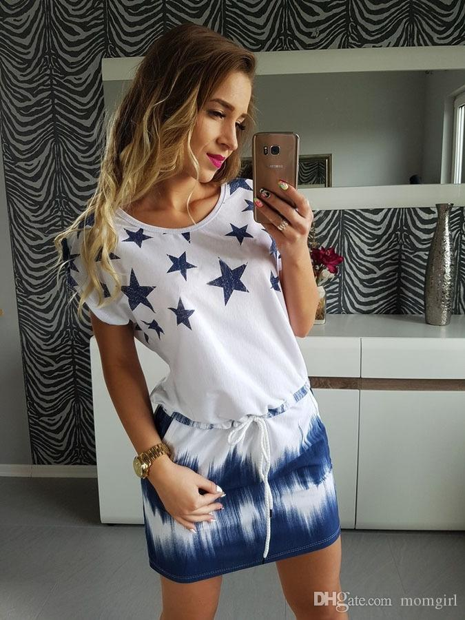 Women Casual Dresses Ladies Short Sleeve Star Print Dress Loose Mini T Shirt Dress Vestido