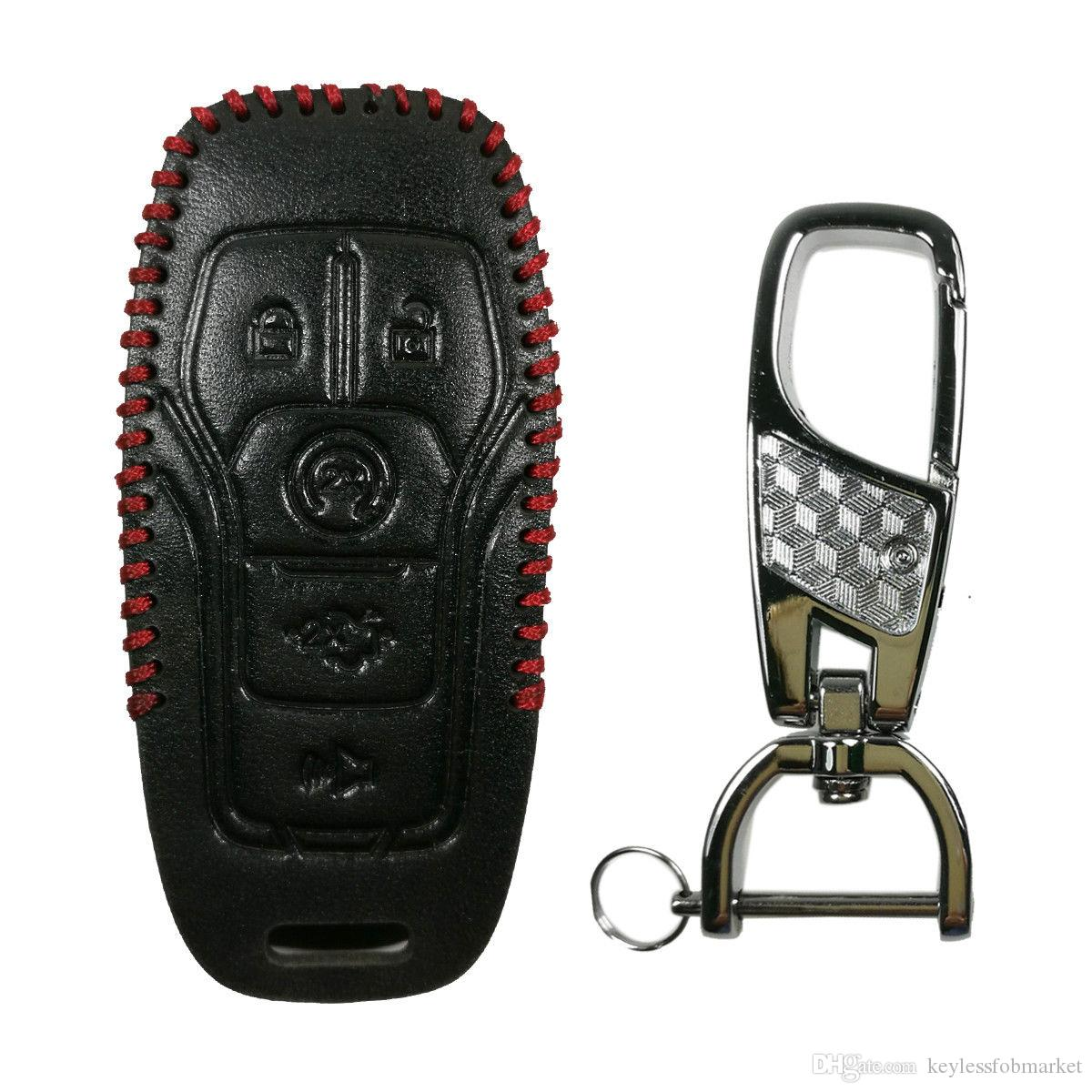 leather key fob cover case  ford    lincoln fusion mkz mustang mkc chip car keys chip