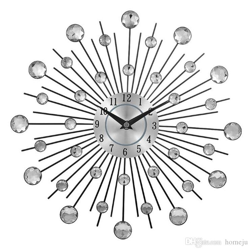 Hot Decorative Crystal Wall Clock Sunburst Metal Creative Clock For