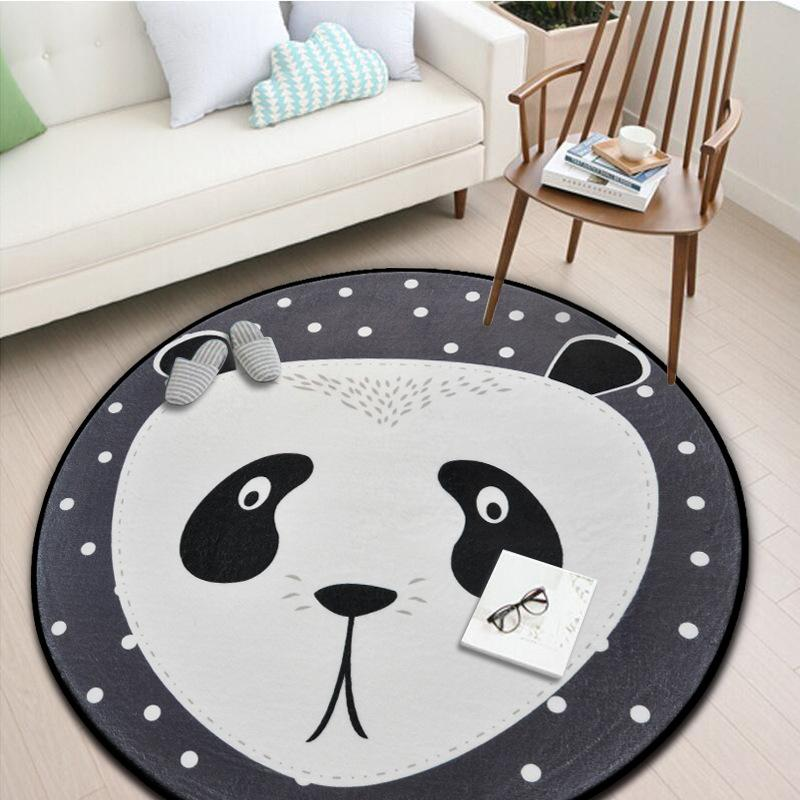 White Grey Cartoon Animals Bear Fox Panda Round Tapete For Living