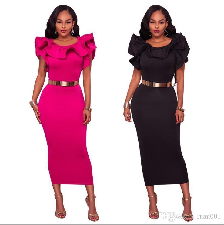 81c552a9a5b OL Professional Dress Summer Women Dress Spring Lotus Leaf Sleeve ...