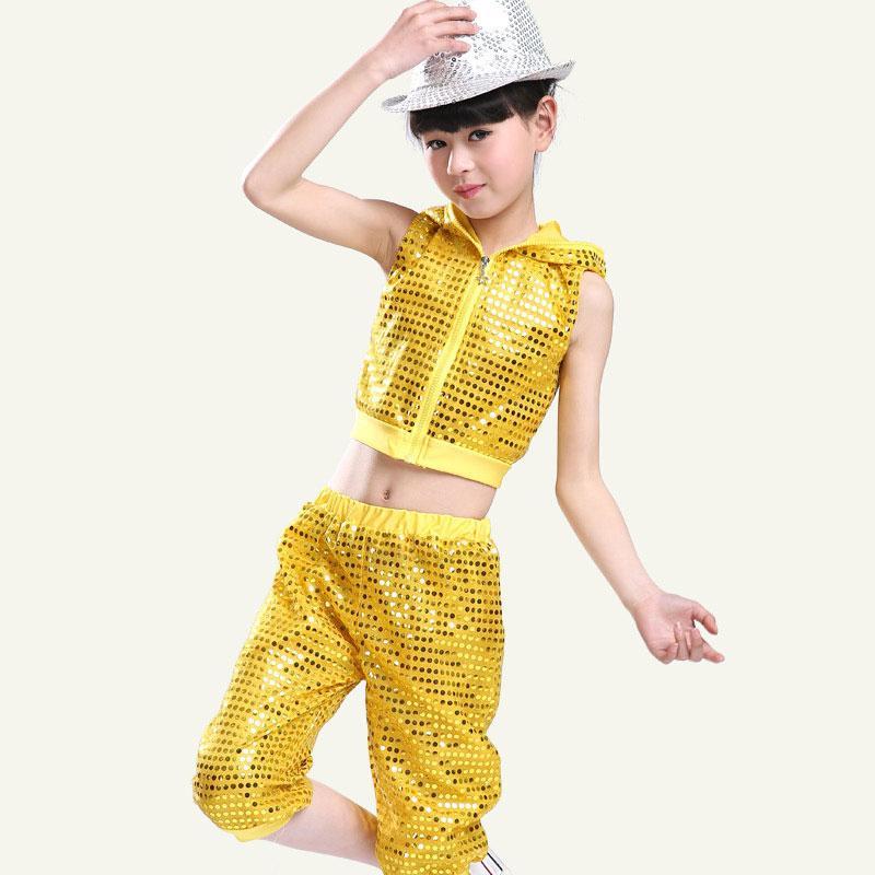 ad13f1b3c1dd2 Compre Trajes Modernos Niños Danza Jazz Hip Hop Baile Ropa Lentejuelas  Realizar Servicio Niño Niña Equipo De La Etapa Chaqueta + Pantalones A   27.1 Del ...