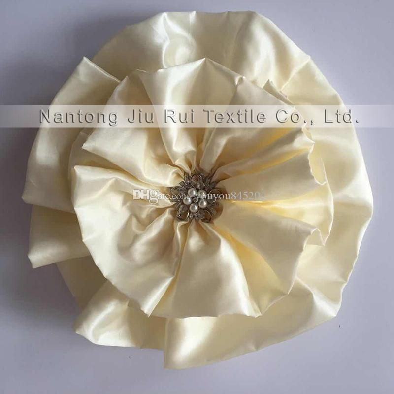 Новый Дизайн !Чудо Тафта большой цветок с брошь спандекс стул группа для свадьбы использования