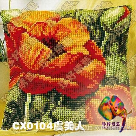 Diy Needlework Kits Unfinished Crewel Yarn Embroidery Pillow Case