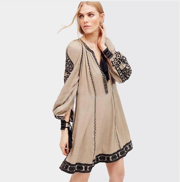 f9ec545ce74 2018 Long Sleeve Ethnic Dress Tassels Boho Hippie Chic Women Embroidery  Dress Cotton Gypsy Vintage Dresses Womens Tunic Clothing