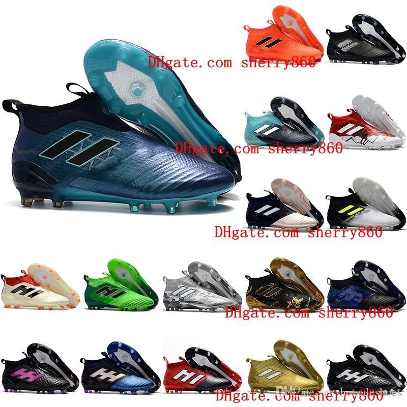 best service d2b31 14d6a 2019 2018 Ace 17 Purecontrol FG Ace 17.1 Crampons De Football Boots Mens  High Top Ankle Soccer Cleats Dragon Soccer Shoes Outdoor Chuteiras Men From  ...