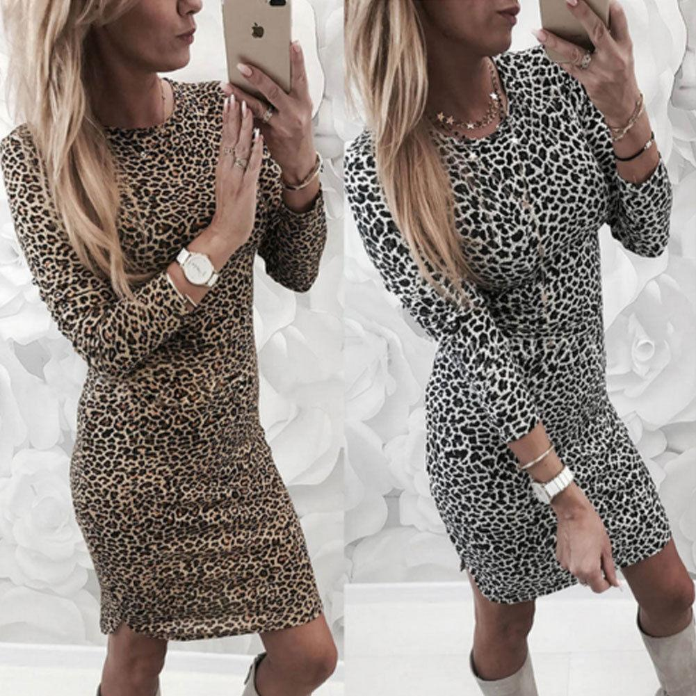 bb64dd6ce2 Sexy Leopard Print Women Bodycon Dress Evening Party Long Sleeve Club Short  Mini Pencil Dress Fashion Long Evening Dress Red Evening Dress From  Qinfeng08