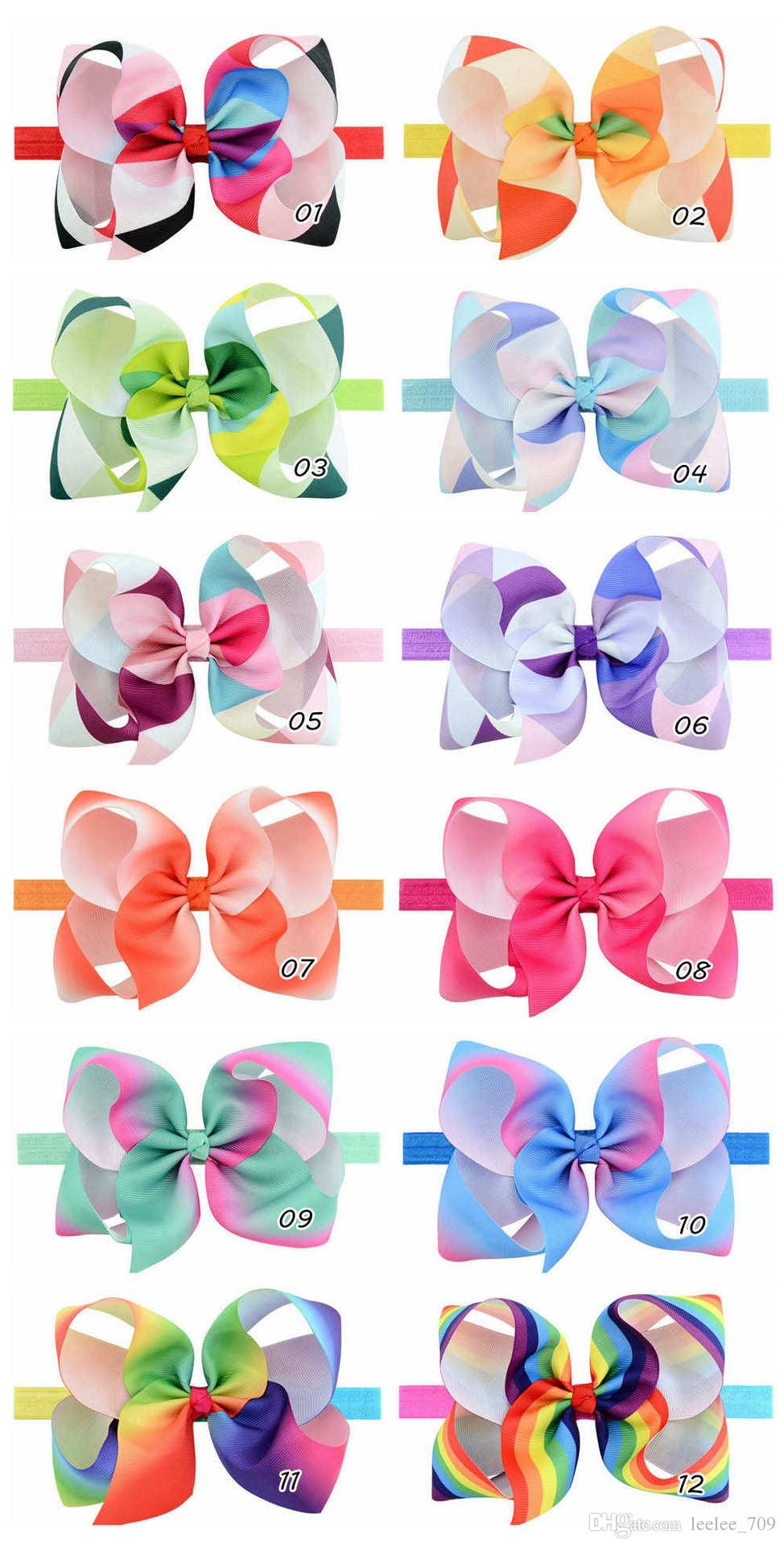 2017 Rainbow Jojo hair cheer Bows baby Girls Children kids Trendy Hair head Accessories clips Birthday Party Dressing Up DIY kit