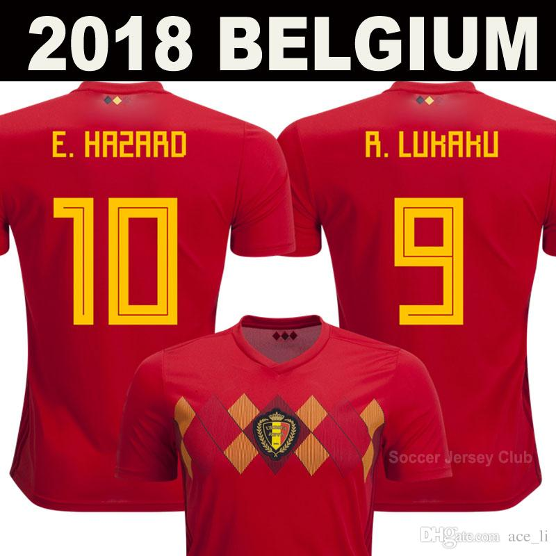 2cfab34f4c6 2019 2018 World Cup Belgium Soccer Jerseys DE BRUYNE Thailand Quality  R.LUKAKU FELLAINI E.HAZARD KOMPANY BATSTUAYI MERTENS BELGIUM Football Shirt  From ...