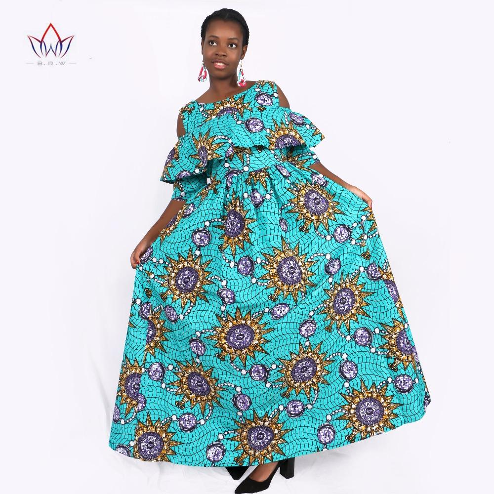 2017 Summer Autumn African Dresses For Women Ankara Clothing Ruffles Collar Batik Wax Print Half Sleeve Maxi Dress Wy1864