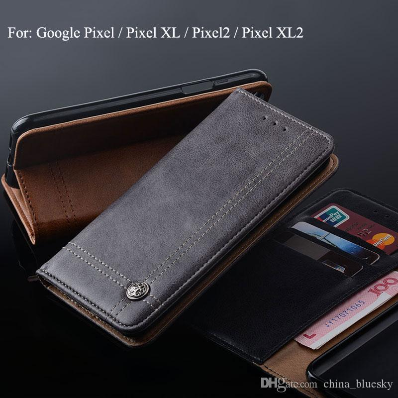 pretty nice d76c2 3631d Leather case for Google Pixel 2 XL 2 Wallet Flip Case with Slot Luxury  Vintage Design Free Shipping