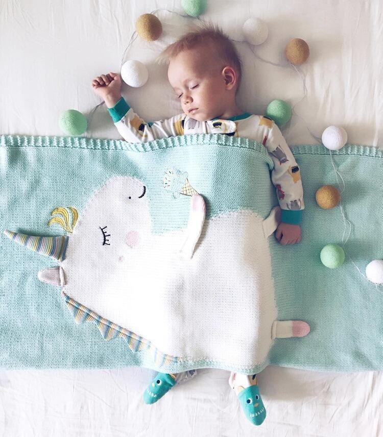 INS Infant Unicorn Manta Wrap Kids 3D de punto Alfombra Swaddling Chico Chica Esteras de Playa Bebé Recién Nacido Fotografía de Fondo Apoyos HFC 002