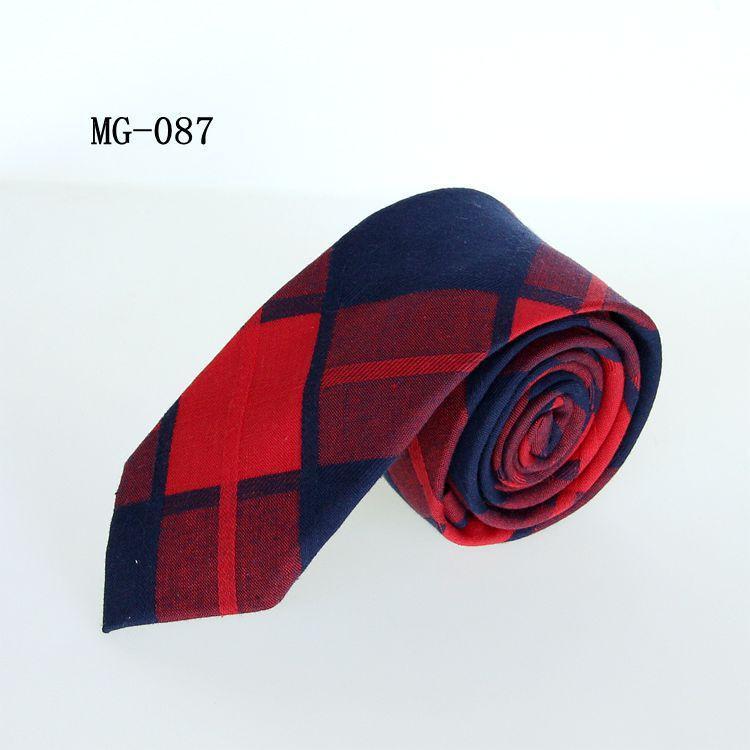 cravate étudiant liens de coton de loisirs unisexe 6cm pour hommes, femmes cou d'affaires maigre chèque cravate à carreaux jacquard cravate rouge