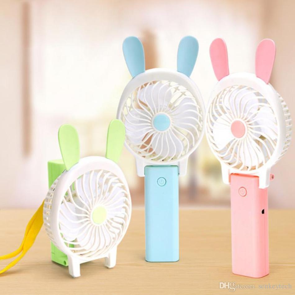 Mini Dobrável Ventilador Portátil Dos Desenhos Animados CatRabbit Estilo USB Recarregável Dobrável Handheld Mini Ventilador Cooler Ventilador de Ar Crianças Caixa de Varejo
