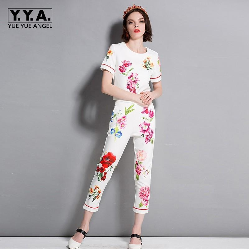 2019 Floral Two Piece Set Top And Pants 2018 Womens Summer Clothes White  Set Women Office Elegant Suit With Shorts Hot S XL From Chenhanyang163 958c44e54