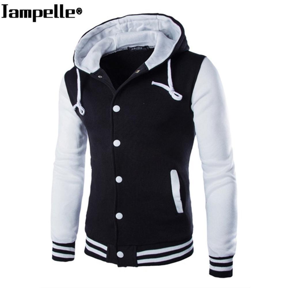 b11a8828439d0 Autumn Winter Men s Hooded Baseball Jacket Cotton Slim Fit White ...